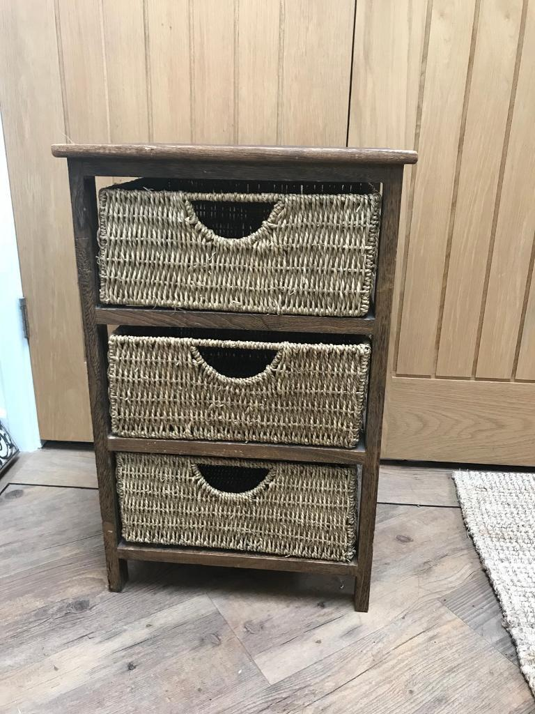 Lovely Wooden Seagrass Drawer Unit