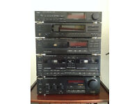 Technics midi seperates stack 1990's with pair of wharfedale modus 5 speakers