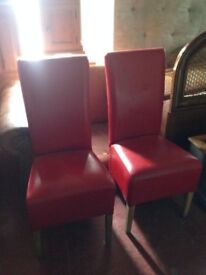 MATCHING PAIR OF OAK AND RED LEATHER HIGH BACK DINING CHAIRS EXCELLENT CONDITION LOCAL DELIVERY