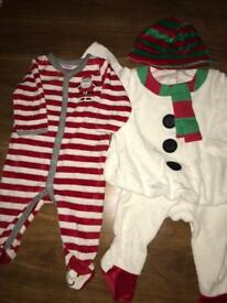 Little Snowman and Santa Christmas outfit