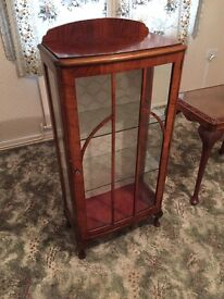 Vintage solid wood (possibly walnut) display cabinet