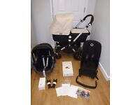 Bugaboo Cameleon 3 Full Travel System! Pushchair, Carrycot & Maxi Cosi Car Seat! Black & White!