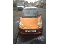 Daewood matiz hatchback sport has no mot but passed in January 21st 2017 and no tax manual orange
