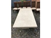 Marble Dining table, sat on 2 pedestals