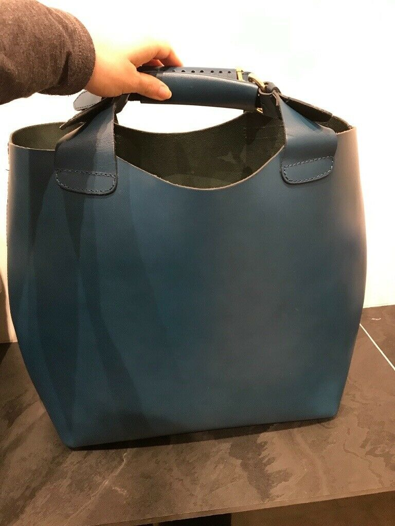 a35913e7 Zara Large Petrol blue Leather Buffalo Shopper Tote Bucket Bag | in  Wilmslow, Cheshire | Gumtree