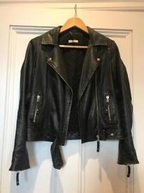 WHISTLES Black Leather Jacket UK 8 / EU 36