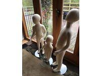 3 Childrens Flexible Mannequins 67cm age 2/100cm age 4 & 113 cm age 6 approx.