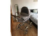 """Prestige babystyle 3-in-1 pram in grey and tan with white 14"""" wheels and silver chassis"""