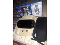 PS Vita + Case + Games + 2 Memory Cards
