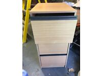 3 drawer filing cabinet in beech effect. Very good condition. £35.