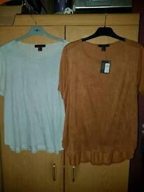 2 velvet feel tops size 16