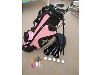 Girls golf set, bag, clubs and balls