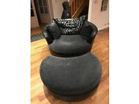 Round Swivel Chair With Foot Stool