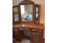 Wooden dressing table with large mirror