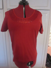 Ladies Classics Red beaded embellished cotton top Size 16 BNWOT
