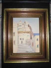 A Peaceful Summer's Afternoon in a Mediterranean Town - Acrylic Painting in a Wooden Frame