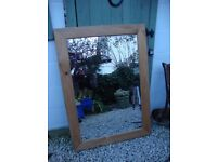 Large Wood Framed Mirror,Measuring Approx 43 x 30 Inches.