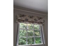 Beautiful blue and cream floral print linen Roman blind