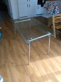 Glass and aluminium dining table 75cm x 120cm