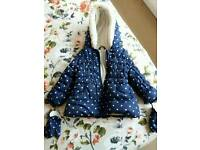 Girls coat blue with white heart's
