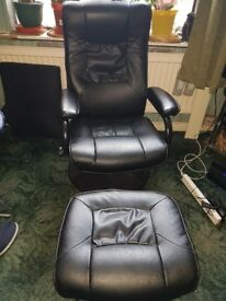 Black matching chair and stool hardly used good condiation