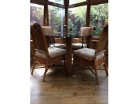 CONSERVATORY TABLE & 4 CHAIRS + 2 CUSTOM MADE EXTENSION TOPS