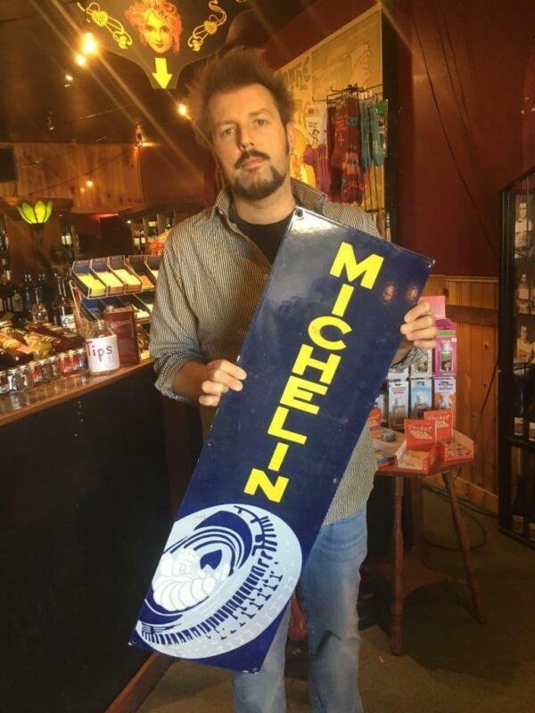michelin tire oil gas dealer porcelain sign  sign MAKE AN OFFER!!!!!!!!!!