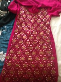 Ladies Indian suit party wedding outfit pink and gold