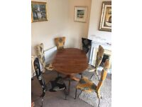 Vintage style dining room table with 6 quirky metal frame chairs