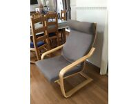 Ikea poang chairs x 2 plus 1 footstool