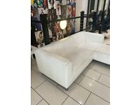 White L Shaped Leather Sofa
