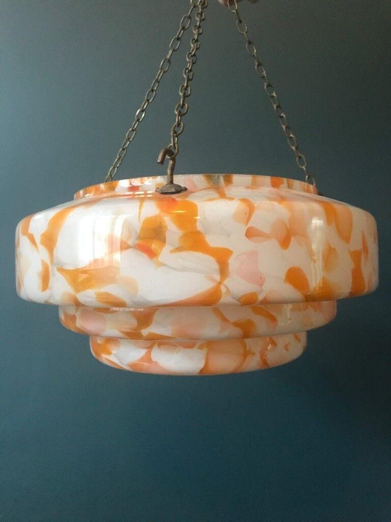 Vintage Art Deco Orange White Marble Gl Fly Catcher Light Lamp Shade 1930 S