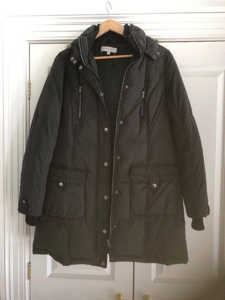 GHARANI STROK hooded knee length coat size 14