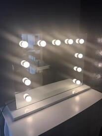 LED Hollywood table top mirror