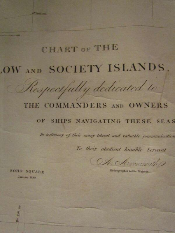 ANTIQUE 1830 SOCIETY ISLANDS NAUTICAL MAP, TAHITI, SOUTH PACIFIC by ARROWSMITH