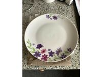 6 dinner plates brand new 27cm diameter kitchen home white with flowers