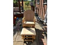 Rocking Baby breast feeding chair with foot stool