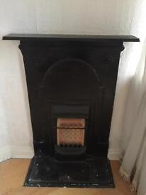 ANTIQUE PERIOD RARE REAL CAST IRON FEATURE GAS FIRE BLACK HEATER FOR CHIMNEY BREAST SURROUND