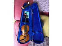 3/4 size violin for sale includes case, bow, shoulder rest and stand