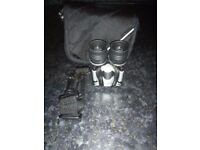 Binoculars (compact) with carry case and shoulder strap. 131M/1000M.