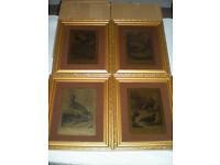 Etched birds on gold backing x 4 Framed New Old Stock
