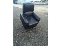 Dark Brown Leather Electric Rise & Recline Chair,Free Delivery In Norwich,