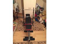 Workout bench and iron weights