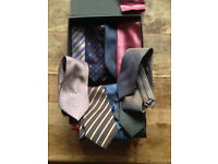 Men's smart ties. Box of 10 ties all good condition (some new) 4 pairs cufflinks and 1 tie pin