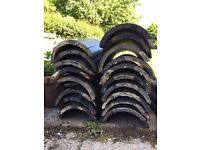 Reclaimed 450mm / 18 inch Black Half Round Ridge Tiles