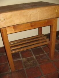 Antique Butchers Block in Maple with Pine Stand