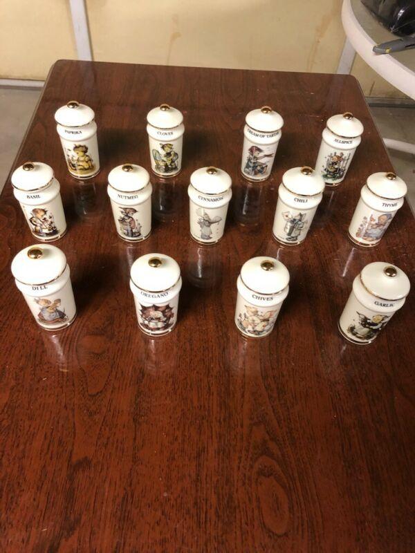 M J HUMMEL SPICE JARS PORCELAIN JAPAN Never Used SET of 13 !