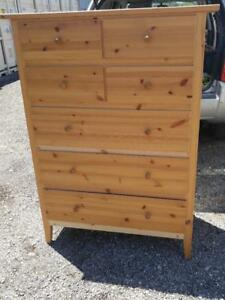 "Oakville Tall 53"" Ikea Dresser Mint Chest of Drawers Wood Light Pine Knotty High Clothing Storage Clothes Bedroom"