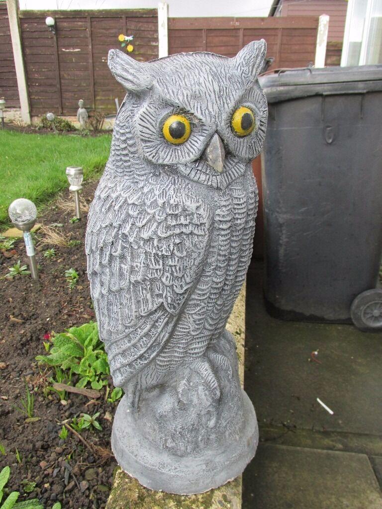 Stone Owl Garden Ornaments Pair of concrete stone owl garden ornaments in morley west pair of concrete stone owl garden ornaments workwithnaturefo