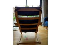IKEA Poang brown leather chair with birch frame